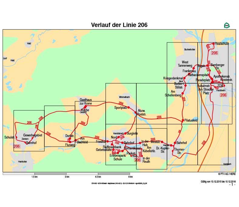 Linienverkehr Forchheim, Omnibus Kraus, Verlaufsplan Linie 206