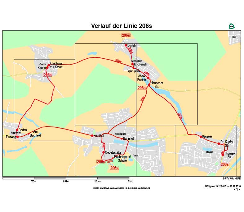 Linienverkehr Forchheim, Omnibus Kraus, Verlaufsplan Linie 206S
