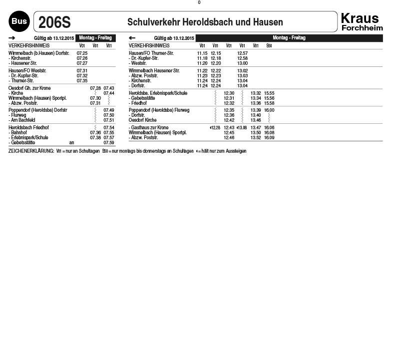 Linienverkehr Forchheim, Omnibus Kraus, Jahresfahrplan 206S